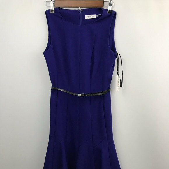Nwt Calvin Klein Royal Blue Dress With Belt Size2